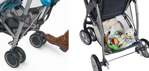 UPPAbaby G-LUXE single action brake (left) vs Graco LiteRider double action brakes (right)