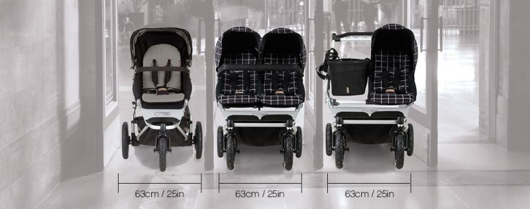 Mountain Buggy Duet is slim like a single stroller