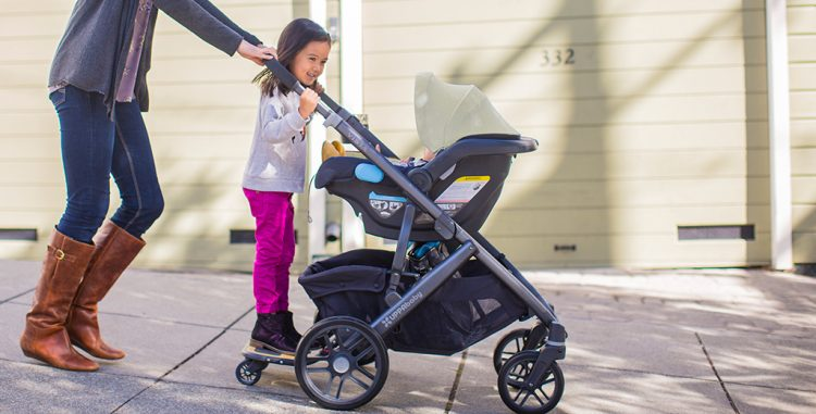 UPPAbaby VISTA with MESA Infant Car Seat and PiggyBack board