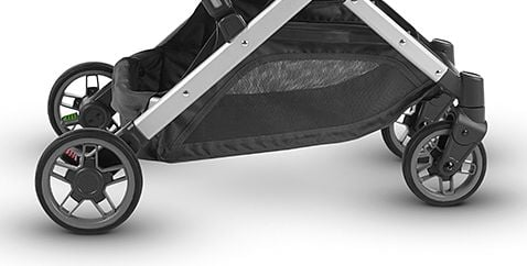 UPPAbaby MINU has rubber wheels, front ones are pivoting