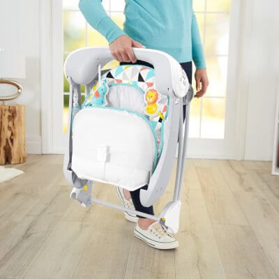 Fisher-Price Deluxe Take Along Swing and Seat folds flat so it is perfect for small apartments