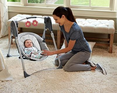 Graco Slim Spaces Compact Baby Swing is one of the best swings for small spaces