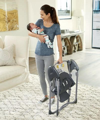 Graco Slim Spaces Compact Baby Swing is portable - you can carry it with one hand while holding a baby in other!