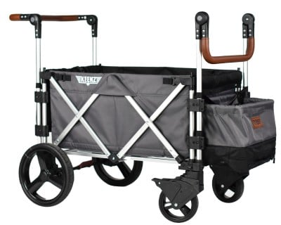 Keenz 7S Double Stroller Wagon has a large storage bin with a compartment for shoes!