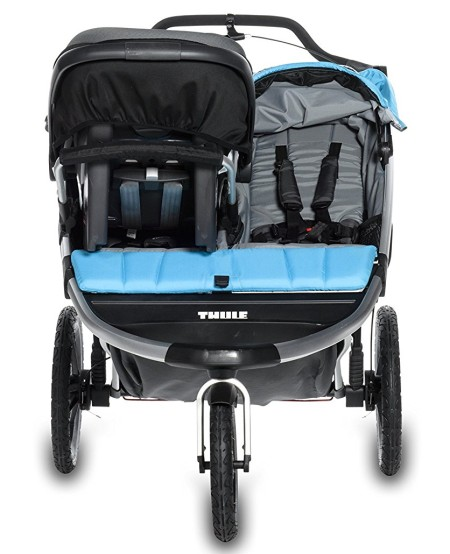 Thule Urban Glide Double Jogging Stroller with one infant car seat