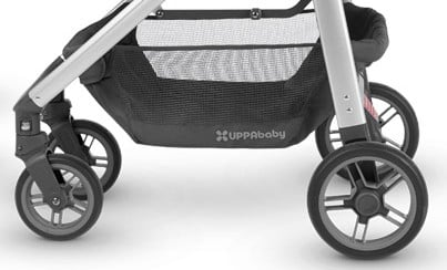 UPPAbaby CRUZ 2018 has rather small wheels (6.4'' in the front and 8.5'' in the back) - they are designed for smooth urban terrains