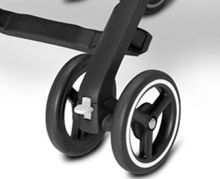 The Pockit Stroller GB - Lockable front swivel wheels