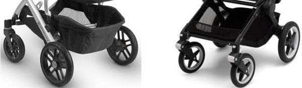 UPPAbaby VISTA vs Bugaboo Fox - comparison of wheels and storage baskets