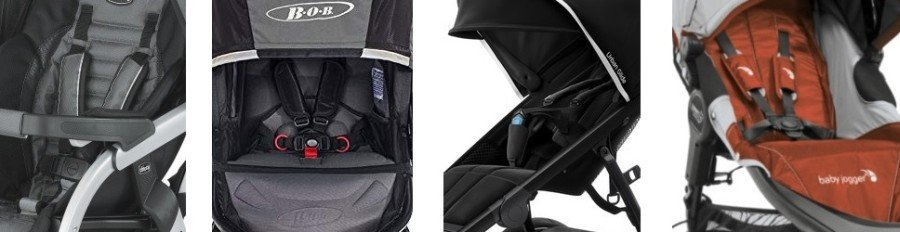 5-point harness comparison on jogging strollers for rollerblading