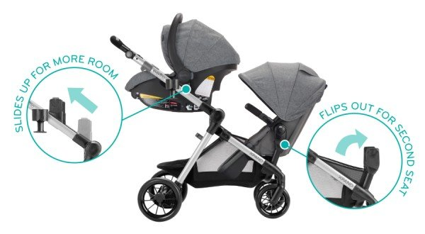 Evenflo Pivot Xpand Modular - Single-to-double stroller with built-in adapters