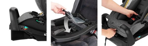 SafeMax Infant Car Seat has SafeZone Base with anti-rebound bar and up-front adjuster for harness