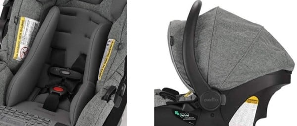 SafeMax Infant Car Seat - removable support pillow and canopy