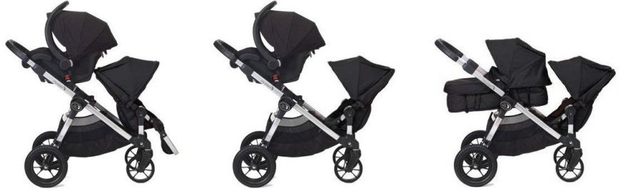 Baby Jogger City Select - seating options for baby and 3 year old - with toddler seat and bassinet or infant car seat