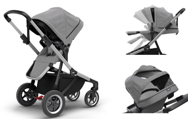 Features of Thule Sleek toddler seat - reversible, reclining and equipped with vented canopy