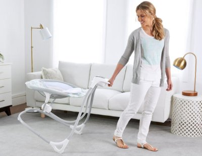 Ingenuity SimpleComfort Cradling Swing comes with pull handle and frame with wheels