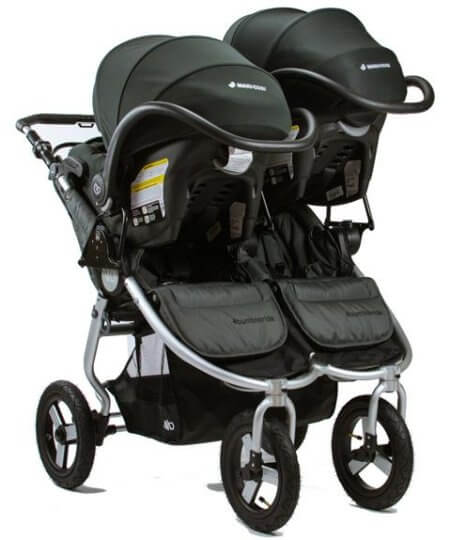 Bumbleride Indie Twin Double Stroller accepts two infant car seats at a time