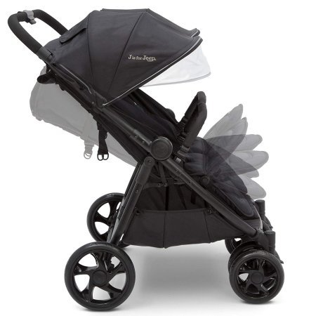 J is for Jeep Brand Destination Ultralight Side x Side Double Stroller - Extendable canopies, reclining seats, adjustable calf rests