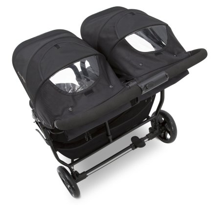 J is for Jeep Brand Destination Ultralight Side x Side Double Stroller - Separate canopies with peek-a-boo windows