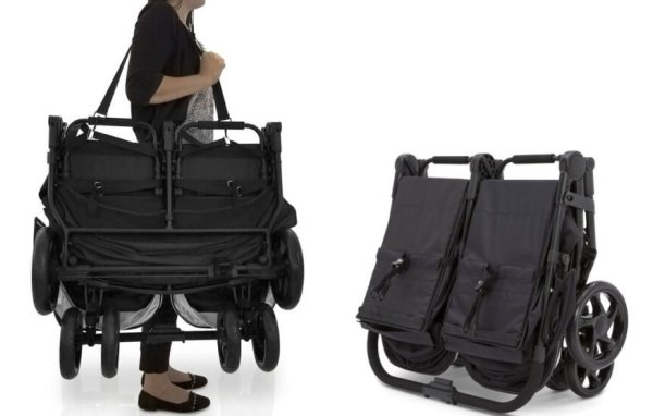J is for Jeep Brand Destination Ultralight Side x Side Double Stroller - Weighs only 21 lbs and has a shoulder strap