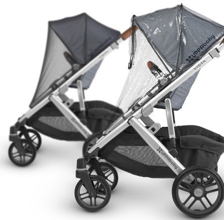 UPPAbaby VISTA comes with rain and bug shields for the toddler seat
