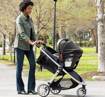 Britax B-Lively Travel System - the car seat easily attaches to the stroller thanks to Click and Go system
