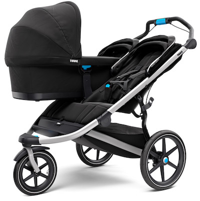 Thule Urban Glide 2 Double Jogging Stroller can be used with one bassinet or infant car seat