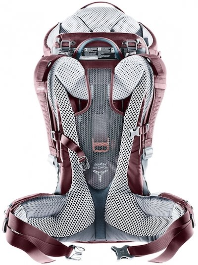 Deuter Kid Comfort Hiking Carrier has mesh back with lots of padding and perforated shoulder straps for better air circulation