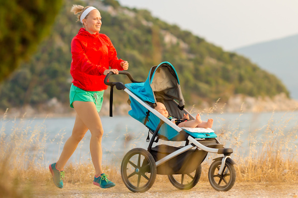 Jogging with a stroller may be a great way to get your body back after pregnancy