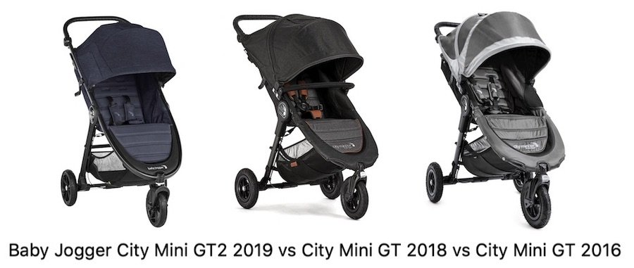 Comparison of Baby Jogger City Mini GT 2019 vs 2018 vs 2016