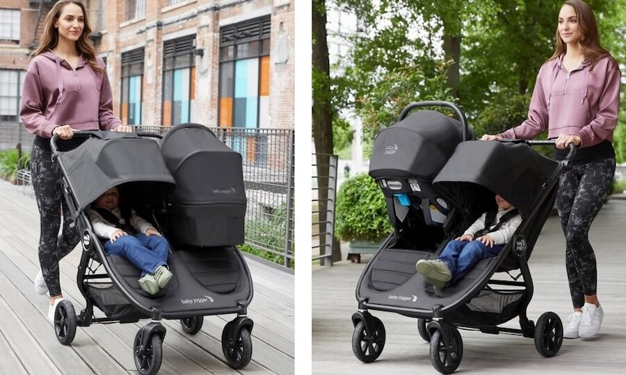 Baby Jogger City Mini GT2 Double 2020 - It can hold one infant car seat and one or two bassinets for newborn twins