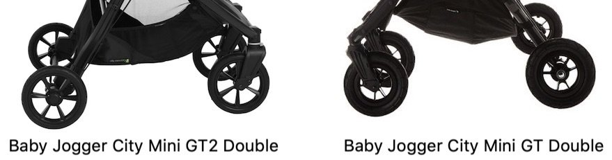 Baby Jogger City Mini GT2 Double vs GT Double - Wheels