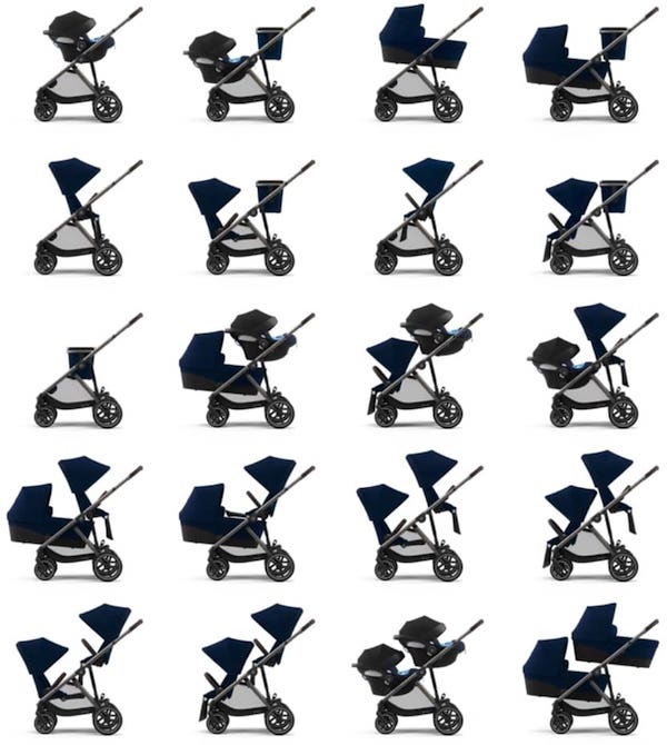 Cybex Gazelle S - Seating configurations