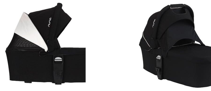 Nuna MIXX series bassinet has breathable canopy and Dream Drape