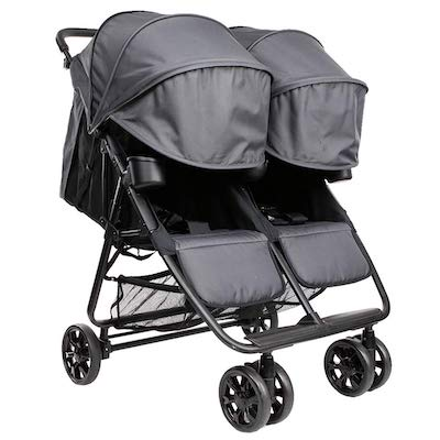ZOE The Twin+ - ZOE XL2 double stroller - full recline and fully extended canopies