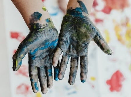Finger painting - for kid's creativity and imagination development