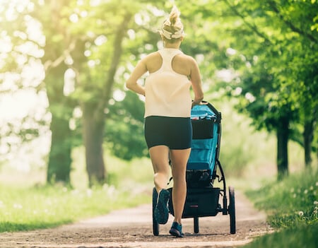 Walking and running with stroller with toddler and preschooler