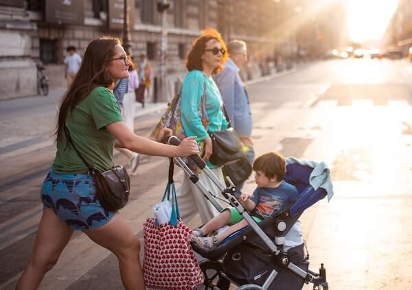 Running errands with a stroller