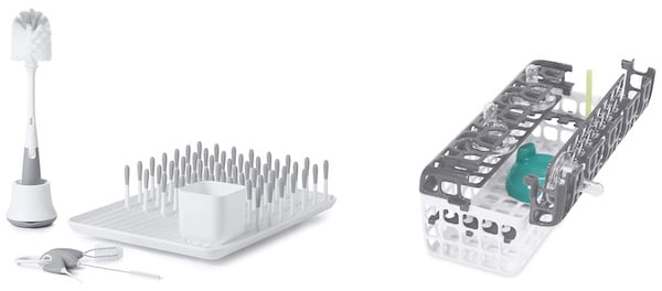 OXO TOT CLEANING BRUSHES, DRYING RACK AND DISHWASHER BASKET