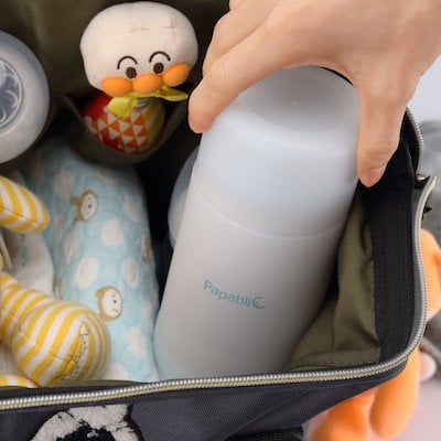 Papablic Mini Portable Bottle Warmer doesn't take up a lot of space