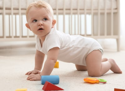 How does playmat support baby's development; Playroom flooring