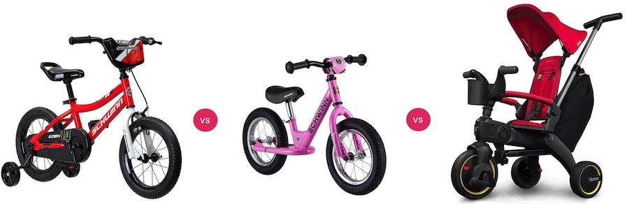 Training wheels vs balance bike vs tricycle