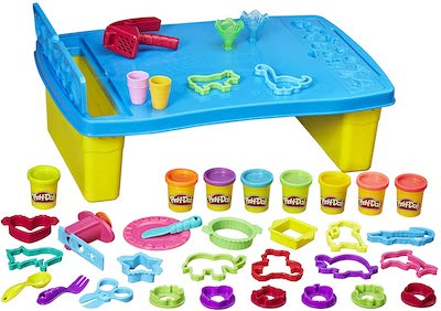 Play Doh Set with table, 8 colors and over 25 cutters and shapers